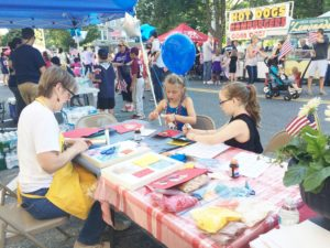 Quilting Table at the 2015 July 4th Block Party
